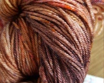 100g 4 Ply 75 Merino/25% Mulberry Silk Luxury Hand Dyed Yarn- Raspberry Chocolate