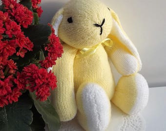 Lemon Yellow Rabbit, hand knitted soft toy.