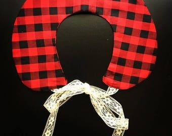 Ready to ship-removable peter pan collar-buffalo check-red and black plaid- faux collar- vintage collar-detachable collar