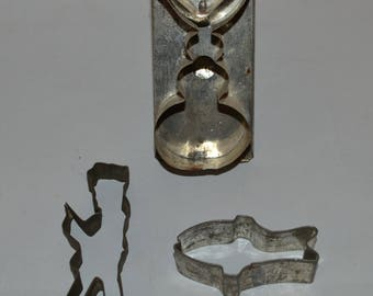 3 Antique Cookie Cutters Fish, Bunny and Soldier