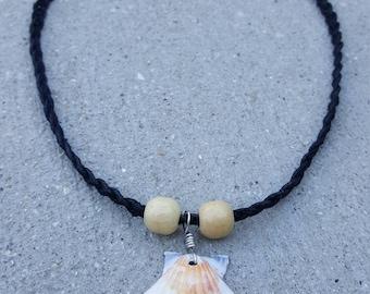 White and Cream Seashell Hemp Necklace