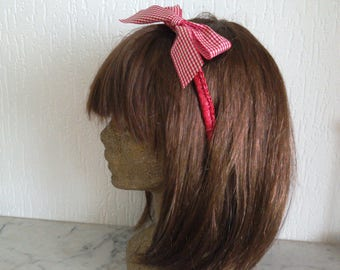Rigid headband red dressed crocheted red/white checked Gingham Bow
