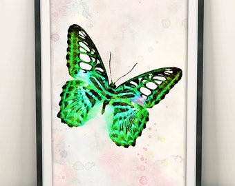 Butterfly Print, Butterfly Wall Art, Green Butterfly Art, Watercolor Butterfly, Wall Art Decor, Home Decor, Bedroom Art, Gift For Her (N408)