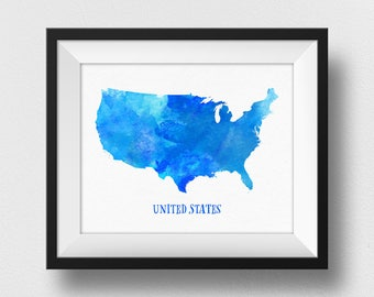 Blue US Map Poster, USA Map Watercolour Print, United States Map Painting, Map Of USA Wall Art, Home Decor, Nursery, Kids Room Decor (735)