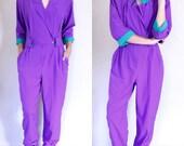 Formal Jumpsuit Long Sleeve Jumpsuit Purple Jumpsuit V Neck Jumpsuit 80s Jumpsuit Genie Pants 80s Formal Wear Retro Jumpsuit Purple Romper