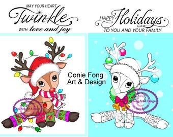 SALE-Digital Stamp, Digi Stamp, Digistamp, Reindeer Lights and Reindeer Wreath  and Sentiments bundle Conie Fong, Christmas, coloring page