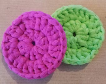 Nylon Pot Scrubbers (Bright pink/lime green)