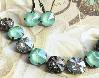 COOL MINT Swarovski crystal 12mm jewelry set with mint green, black patina, and crystal mystique in a hematite setting - earrings & bracelet