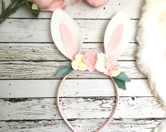 Some bunny is one, Bunny Headband, bunny outfit, bunny Ears- flower Bunny Headband- Rabbit Headband- Felt Flower Headband-Baby bunny