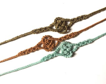 Sailor knot bracelet macrame polyester wax colors