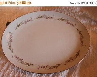 "SALE Prestige Fine China 14.25"" Oval Serving Platter - Cherry Blossom Pattern"