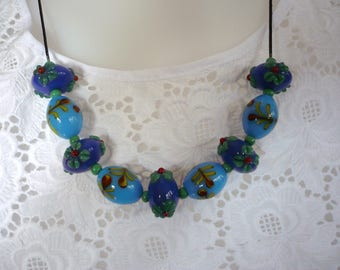 Blue large glass beads