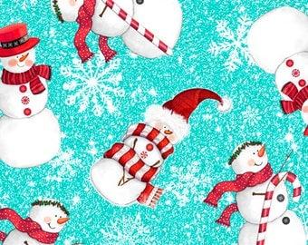 Quilting Treasures - Sweet Season - Snowman - Snowman Toss - Teal Background -  24506-Q