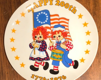 200th Bicentennial Raggedy Ann and Andy plate 1776 1976 vintage