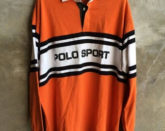 Vintage Polo Sport Spell Out Rugby Rare Size L