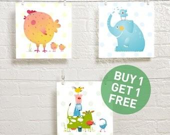 art for children - art set for kids room - animal poster - animal digital prints - baby prints - kids room art - square printables - 10x10