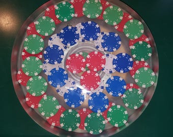 "11.5"" Poker Chip Resin Lazy Susan/Cake Plate"