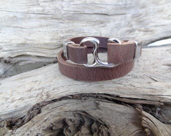 EXPRESS SHIPPING,Men's Chocolate Brown Leather Bracelet,Chrome Hook Clasp Bracelet,Wrap Bracelet,Gifts for Boyfriend,Father's Day Gifts,