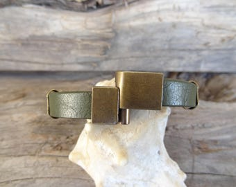EXPRESS SHIPPING,Men's Olive Green Leather Bracelet, Men's Jewelry, Antiquing Magnetic Clasp, Cuff Bracelet,Gift for Him, Father's Day Gifts