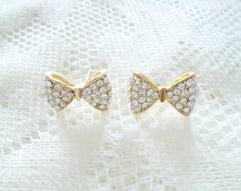 Crystal bow stud earring, Wedding earring, Bridesmaid earring