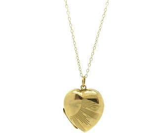 Art Deco Locket | Romantic Jewelry For Her  | 1920s Gold Locket | Sun Ray Heart Locket |  Vintage Locket | Heart Necklace | Art Deco Locket