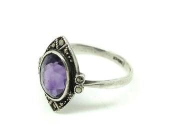 Vintage Amethyst Ring | Silver Ring | Art Deco Amethyst Ring | Purple Ring | Amethyst Ring | Marcasite Silver Ring | Navette Ring |