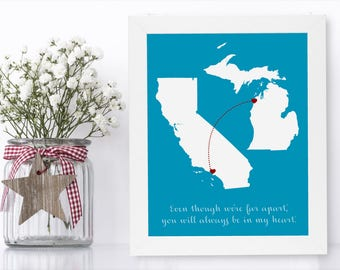 Going Away Gift For Boss Unique Long Distance Gift 2 Map Art Two Map Print Personalized State Country Distance Present Birthday Gifts