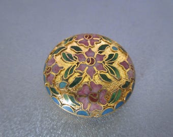 Gold Cloisonne Coin Shape Bead 1pc