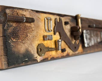 Recycled Assemblage Art - Mixed Media Wall Art - Rustic Assemblage - Found Object Art