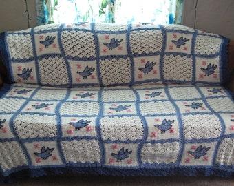 crocheted BIRDS bedspread