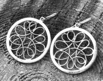 Mandala Earrings, Circle Earrings, Filigree Earrings, Sterling Silver Jewelry, Round Earrings, Sterling Silver .925