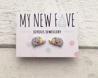 Hedgehog studs, Hedgehog jewellery, unusual jewellery, Valentine's Jewellery, Hedgehog Earrings, Kawaii gift, Kawaii earrings