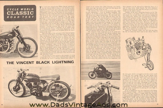 1965 Vincent Black Lightning Classic 1955 Motorcycle Road Test 4-Page Article #d65bb18