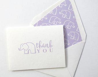 Children's Thank You Cards - Purple Elephant Thank You Card - Purple Elephant Stationery