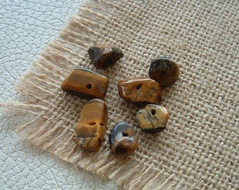 Set of 7G 7 Tiger eye CHIPS beads / 15mm