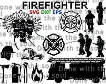 Firefighter svg - Fireman svg - Firefighter cut file - Fireman vector - Fireman cut file - Svg eps dxf - Cutting files - Digital cut files