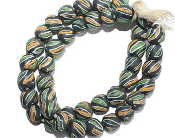 African Beads Krobo Ghana Recycled Glass Round 13 mm Charcoal for Jewelry/Jewellery and Crafts Pack of 10