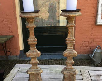 French old candlesticks.Bois dore