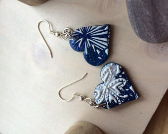 EARRINGS BLUE AND WHITE POLYMER CLAY HEART