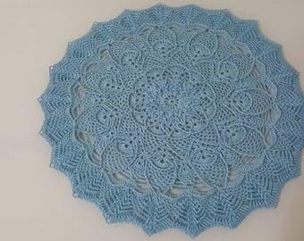 """Handmade Doily Blue 14"""" ( 36cm )"""