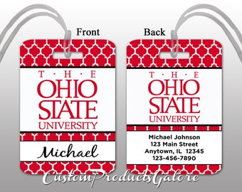 College Luggage Tag, The Ohio State University, Personalized Luggage Tag, Suitcase Bag Tag, Fun Luggage Tag