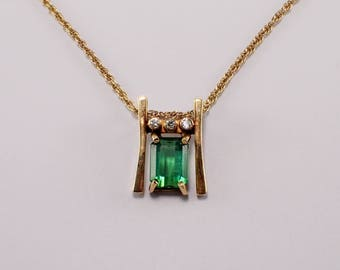 14k Yellow Gold Tourmaline and Diamond Pendant