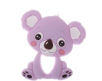 Koala food purple silicone teething ring
