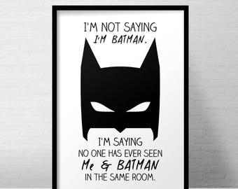 Superhero Batman print / nursery print / black&white / monochrome