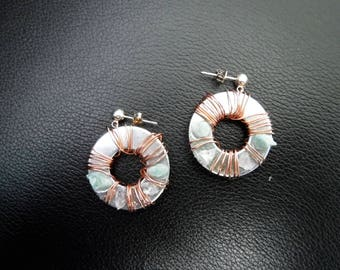 Genuine Geode Crystals And Gemstones On Washer Statement Earrings