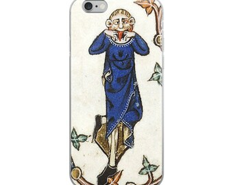 Funny Medieval iPhone case with Middle Ages jester from illuminated manuscript