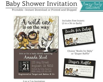 Where the Wild Things Are Baby Shower Invitation, FREE Insert Books for Baby or Diaper Raffle, Baby Shower Invitation,  Digital or Printed