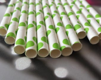 Set of 12 straws green polka dots