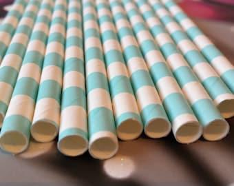 Set of 12 straws color sky blue white