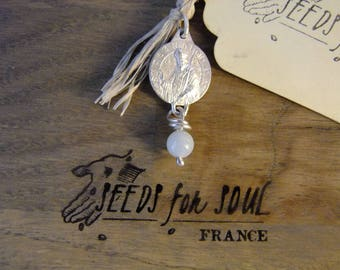 French Handmade St Claude antique pendant in sterling silver with aquamarine - OAK